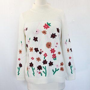 Talbots Floral Embroidered Sweater Colorful print